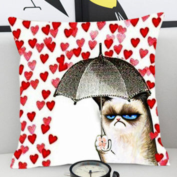 Grumpy Cat Umbrella - Pillow Cover by PillowKesetiaan.