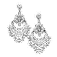 Ornate Hinged Crystal Drop Fashion Earrings