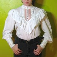1970's Jessica's Gunnies Victorian Style Blouse Off White M / L