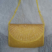 Bright Sunny Wicker Woven Orgini Handbag Purse Convertible Strap or Clutch Summer Wear