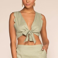Spring Rain Scalloped Tie Front Crop Top - Sage