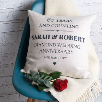 Diamond Wedding Anniversary Cushion Cover