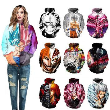 Anime hoodie Naruto Dragon Ball hooded pullover Lovers Skateboard hoodie hooded sweater Sports hoodie men women Streetball coat