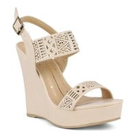 Womens Platform Shoes Wedge Cutout Embellishment Platform Wedge Shoes Nude