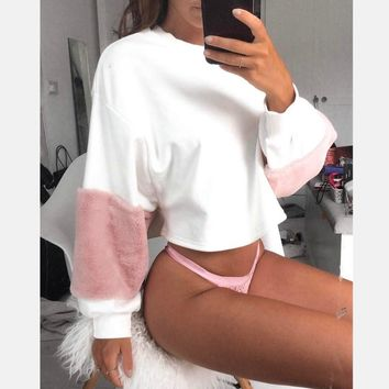 Faux Fur Cropped Hoodies 2017 Autumn Women Oversized Long Sleeve Pink White Pacthwork Sweatshirt Warm Casual Sexy Pullovers Tops