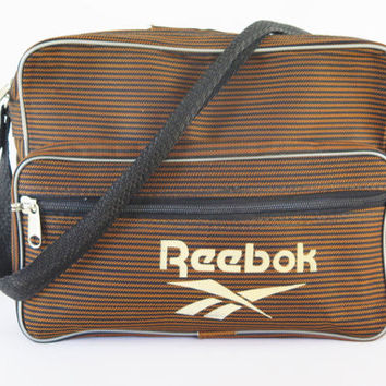 80s Vintage Unisex Brown Reebok Messenger Tote Bag