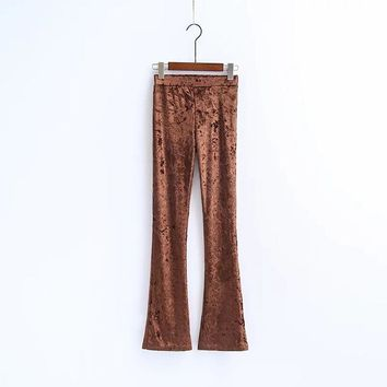 New Fashion Velvet Flare Pants Trousers Casual High Waist Streetwear Full Length Elegant for Women Female