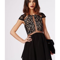 Missguided - Cat Lace Cap Sleeve Mesh Insert Skater Black