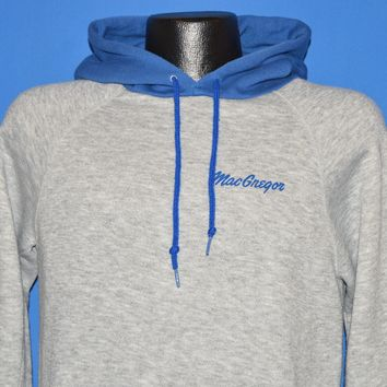 80s Macgregor Gray Hooded Sweatshirt Medium