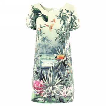 NEW Vintage Women Dress with Birds Flower Print Summer Dress Short Sleeve Mini Chiffon Dresses *35