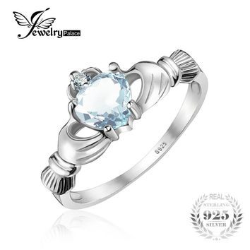 JewelryPalace Heart Genuine Aquamarine Claddagh Ring Solid 925 Sterling Silver Rings For Women Wedding Jewelry High Quality