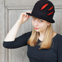 Unique felted hat, fancy black bowler hat with red scratches , designers Avant Garde hat, OOAK