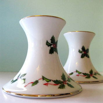 Vintage Lefton White Christmas Candle Holders Holly Berry Holiday Table Decor