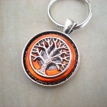 Tree of Life Keychain Orange  Boho Keychain  by MaddDoggofTomorrow