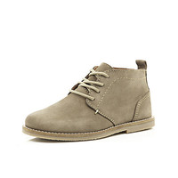 River Island Boys grey leather desert boots