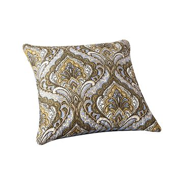 Tache Olive Green Light Blue Paisley Striped Bohemian Spades Cushion Cover 2-Pieces (SD-42L)