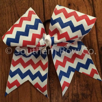 Red + Royal Blue + White Glitter Chevron Cheer Bow