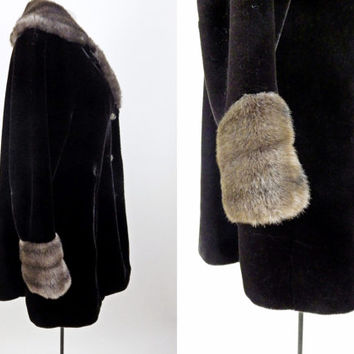 Vintage Borgazia Faux Fur Winter Coat // Fully Lined // Inner Leather Trim // Excellent Condition