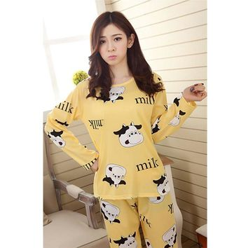 Women Sleepwear Spring Autumn Warm Coral Fleece   Nightwear 2 Pieces Pajama Set For Ladies