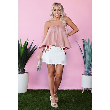 Back To Basics Strapless Crop Top (Nude Pink)