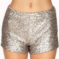 Silver/Gunmetal Sequin Mini Shorts (Forever21)