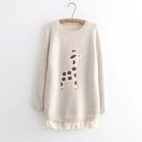 Patchwork Pullover Winter Cartoons Lace Sweater [9036997260]