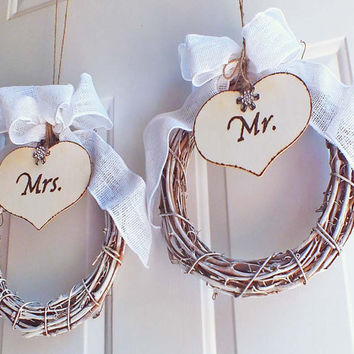 Chair Signs Mr and Mrs Rustic Wedding Grapevine Wreath With Burlap Bow And Rhinestone Accent