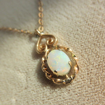 Vintage Krementz Genuine Opal Gold Filled Necklace - Never Removed From the Box NIB