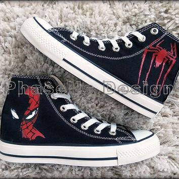 Spider Man Custom Painted Shoes