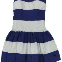 Abercrombie & Fitch Women's Joanna Striped Strapless Dress (Blue Stripe) (Small)