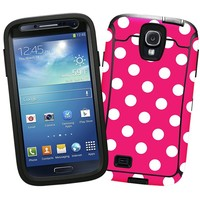 """White Polka Dot on Raspberry """"Protective Decal Skin"""" for OtterBox Defender Samsung Galaxy S4 Case"""