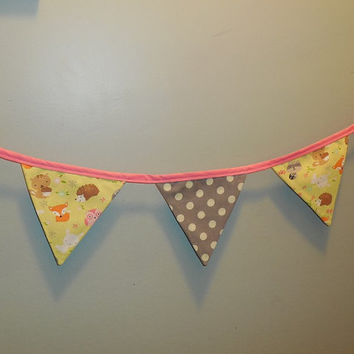 Adorable Woodland Animal Themed Bunting For Decoration or Room Decor