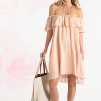 Iris Blush Off the Shoulder Ruffle Dress