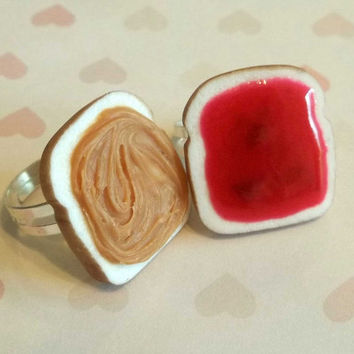 valentine's day polymer clay strawberry jam peanut butter and jelly best friend rings bff polymer clay