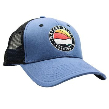 Bluff Horizon Trucker Hat in Slate Blue & Black by Waters Bluff - FINAL SALE