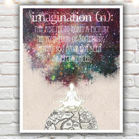 Imagination - PAPER PRINT, the definition of imagination, typographic print, inspirational print