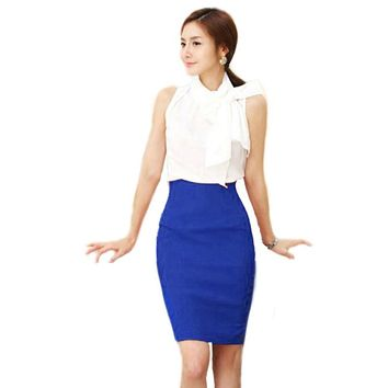 Women OL Slim Fitted Knee Length Pencil Skirt High Waist Straight Multi-color