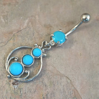 OrnateTurquoise Belly Button Jewelry Ring