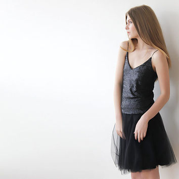 Ballerina Tulle Skirt ,Party skirt , Silk Tulle Skirt , Black tulle skirt , Mini tulle skirt
