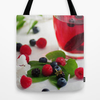 Red Berries Tea Tote Bag by Tanja Riedel