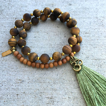 Matte Tiger's Eye and Sandalwood, 'Prosperity and Healing', 27 Bead Wrist Mala Wrap Bracelet
