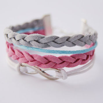 4 Strand Pastel Pink Blue and Grey Infinity Faux Leather Braid Cord Bracelet (Adjustable Sizing)