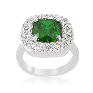 Regina Emerald Green Cushion Cut Cocktail Ring | 5ct | Cubic Zirconia | Silver