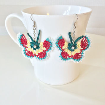 Hand Knitted Multicolor Butterfly Crochet and Beaded Earrings, pair of Butterfly earrings and beaded.