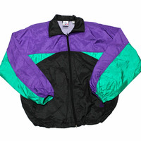 Vintage 1990s Black/Green/Purple Windbreaker Jacket Mens Size Large