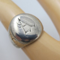 Art Deco Signet Ring, Sterling Silver Monogrammed Hearts Letter A Size 7.50 Sweetheart Jewelry Unisex