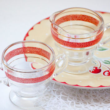 Clear Glass Double Handled Sugar Bowl and Creamer With Red Trim