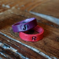 His and Her /  Leather Ring Cuff / Initials / Love / Couples / Promise Ring