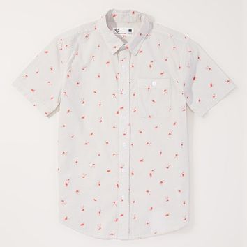 p.s. from Aéropostale Gray and Coral Flamingo Print Button-Up - Boys