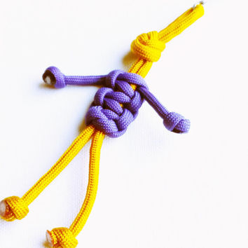 Paracord Keychain - 550 Paracord - Survival Keychains - Gold & Purple Keychain - Para-Bandit - Zipper Pull - Stocking Stuffers